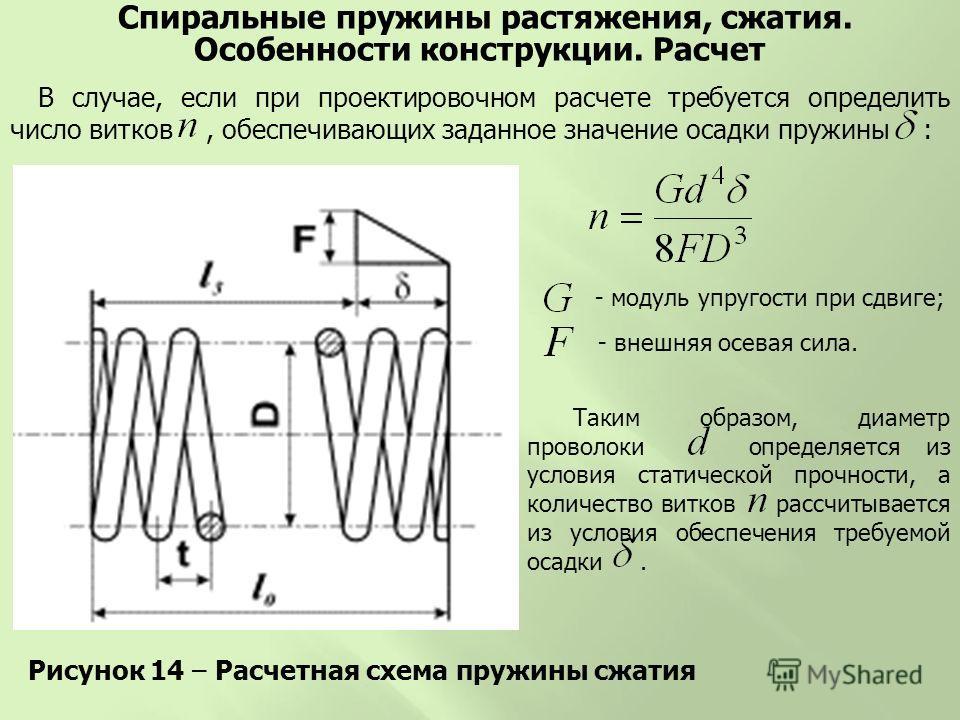 Рисунок 14 – Расчетная схема пружины сжатия Спиральные пружины растяжения, сжатия. Особенности конструкции. Расчет В случае, если при проектировочном расчете требуется определить число витков, обеспечивающих заданное значение осадки пружины : - модул