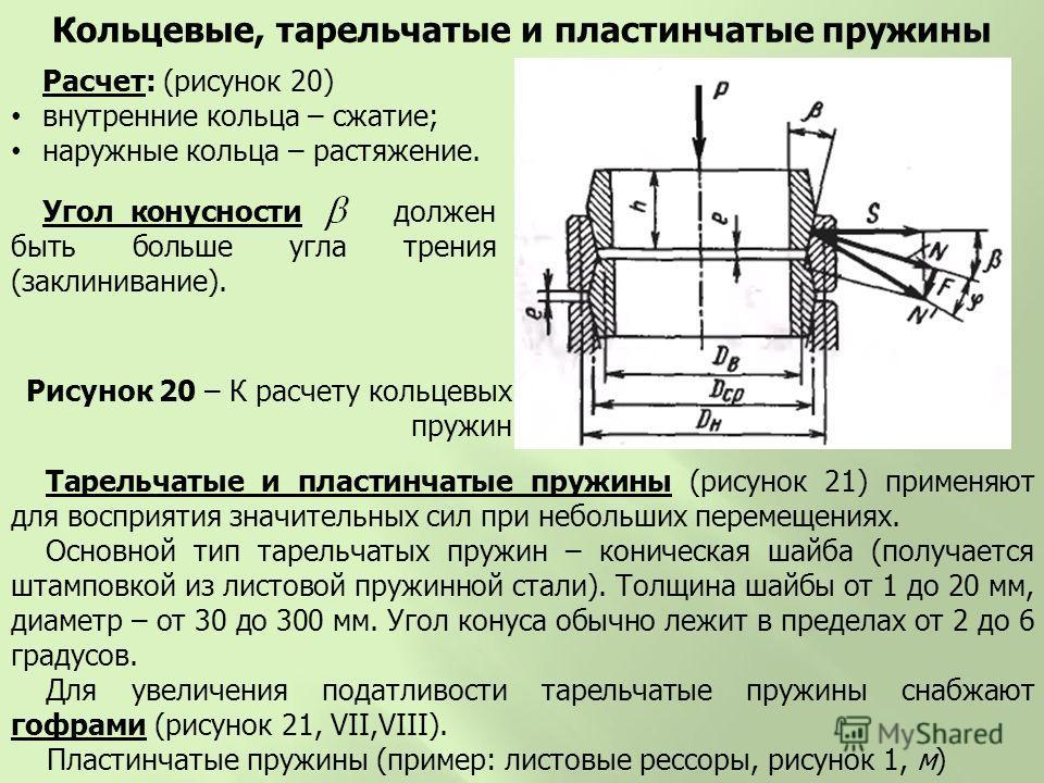 Расчет: (рисунок 20) внутренние кольца – сжатие; наружные кольца – растяжение. Кольцевые, тарельчатые и пластинчатые пружины Рисунок 20 – К расчету кольцевых пружин Угол конусности должен быть больше угла трения (заклинивание). Тарельчатые и пластинч