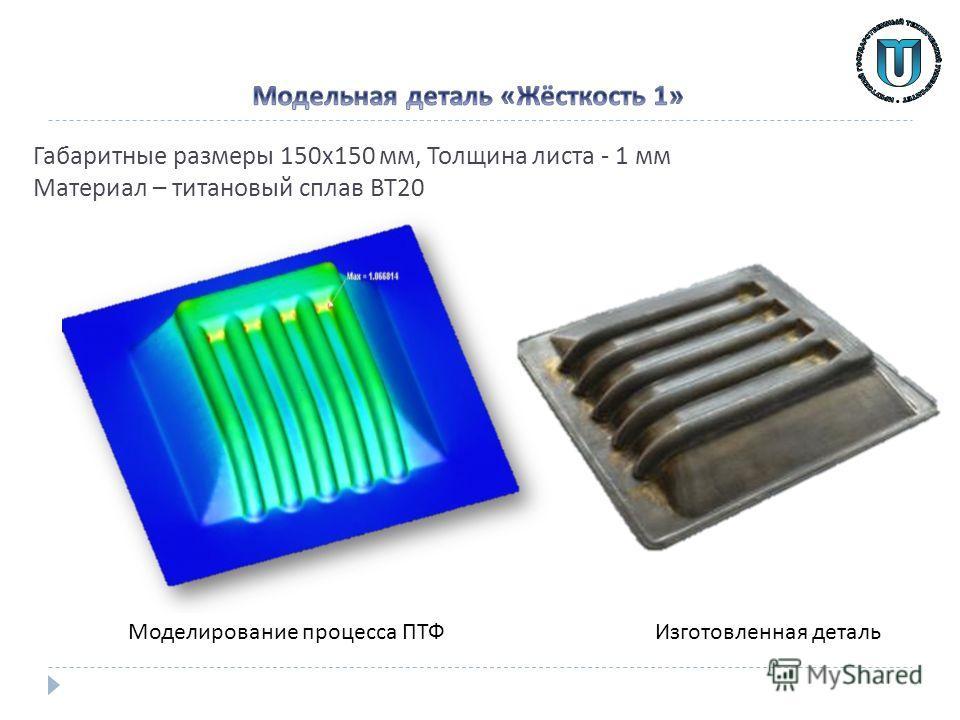 Габаритные размеры 150 х 150 мм, Толщина листа - 1 мм Материал – титановый сплав ВТ 20 Изготовленная деталь Моделирование процесса ПТФ
