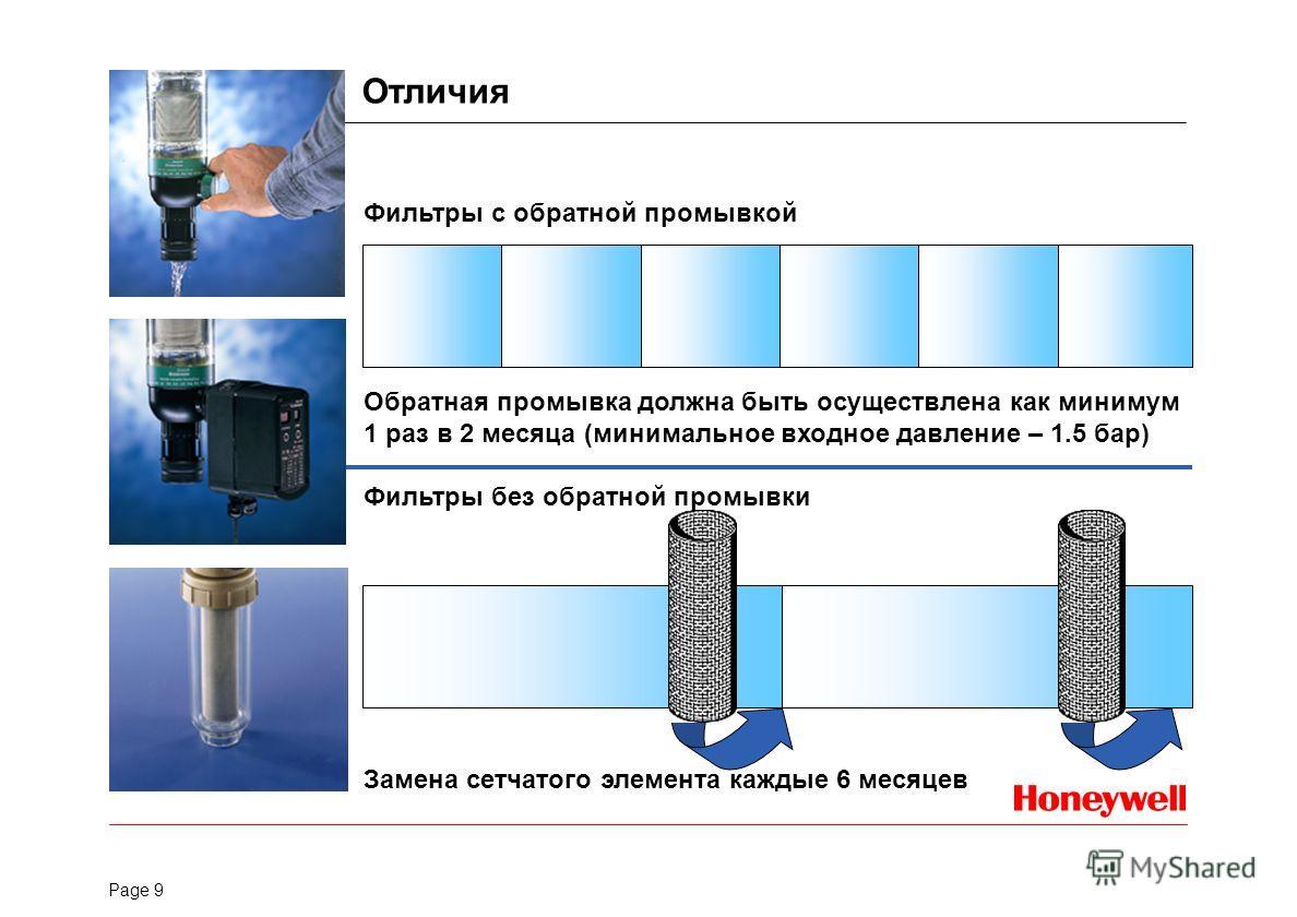 Page 9 Фильтры с обратной промывкой Обратная промывка должна быть осуществлена как минимум 1 раз в 2 месяца (минимальное входное давление – 1.5 бар) Фильтры без обратной промывки Замена сетчатого элемента каждые 6 месяцев Отличия