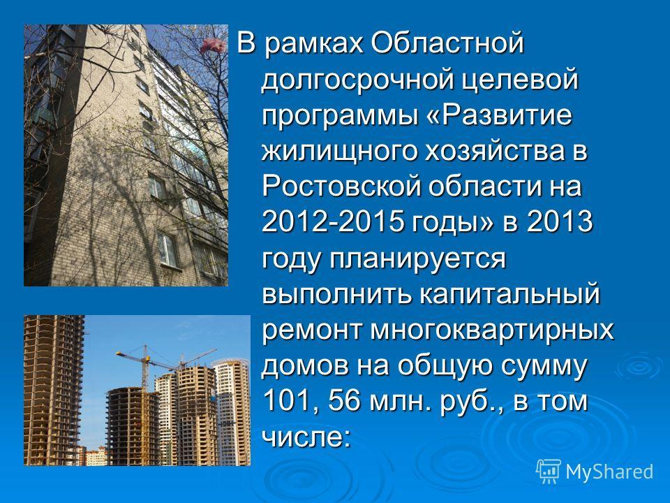 В рамках Областной долгосрочной целевой программы «Развитие жилищного хозяйства в Ростовской области на 2012-2015 годы» в 2013 году планируется выполнить капитальный ремонт многоквартирных домов на общую сумму 101, 56 млн. руб., в том числе: