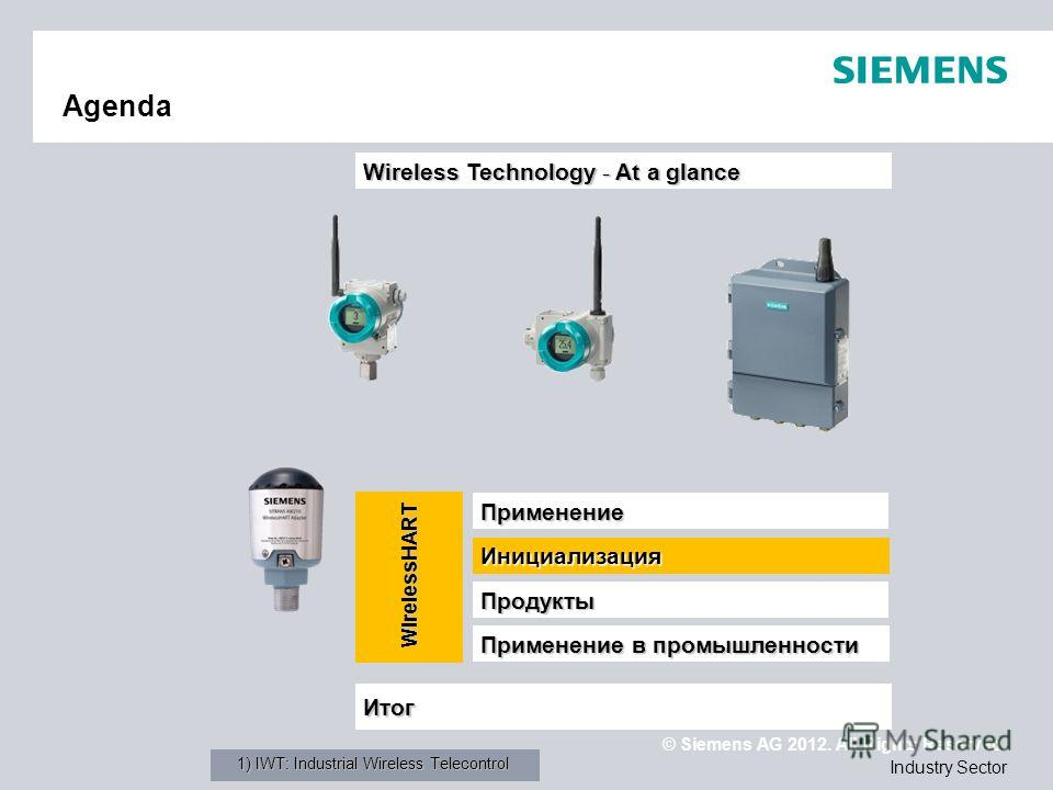 © Siemens AG 2012. All Rights Reserved. Industry Sector Agenda Применение Применение в промышленности Итог Wireless Technology - At a glance Продукты Инициализация WirelessHART 1) IWT: Industrial Wireless Telecontrol
