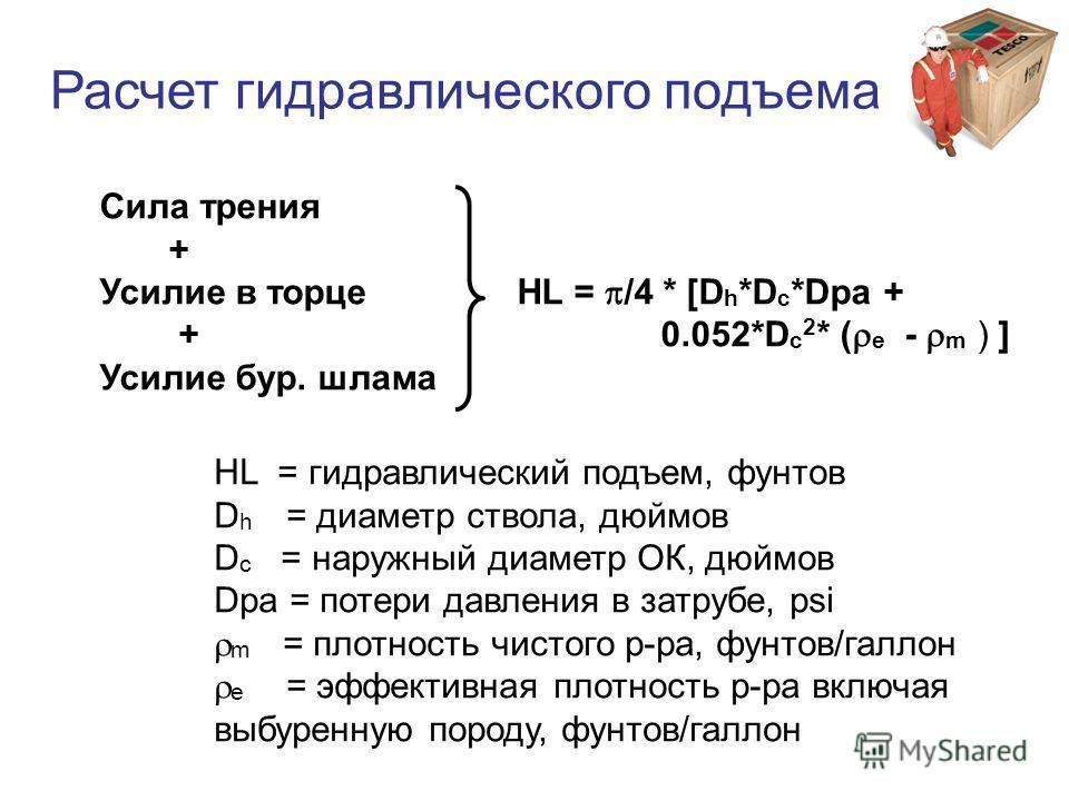 Сила трения + Усилие в торце HL = /4 * [D h *D c *Dpa + + 0.052*D c 2 * ( e - m ) ] Усилие бур. шлама HL = гидравлический подъем, фунтов D h = диаметр ствола, дюймов D c = наружный диаметр ОК, дюймов Dpa = потери давления в затрубе, psi m = плотность