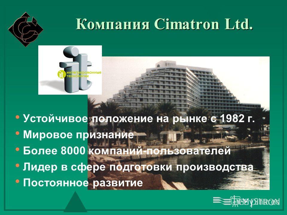 Компания Cimatron Ltd. Устойчивое положение на рынке с 1982 г. Мировое признание Более 8000 компаний-пользователей Лидер в сфере подготовки производства Постоянное развитие