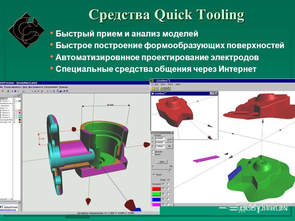 Средства Quick Tooling Быстрый прием и анализ моделей Быстрое построение формообразующих поверхностей Автоматизировнное проектирование электродов Специальные средства общения через Интернет
