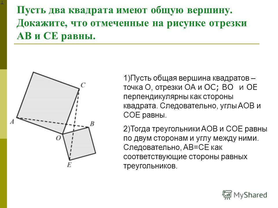 Пусть два квадрата имеют общую вершину. Докажите, что отмеченные на рисунке отрезки AB и CE равны. ; 1)Пусть общая вершина квадратов – точка O, отрезки OA и OC; BO и OE перпендикулярны как стороны квадрата. Следовательно, углы AOB и COE равны. 2)Тогд