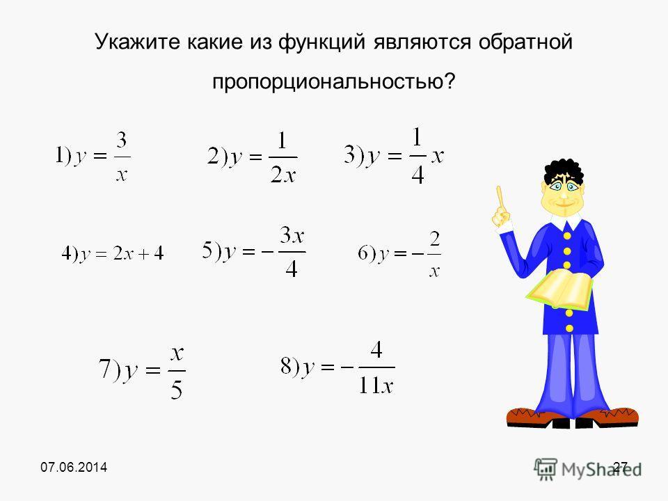 07.06.201427 Укажите какие из функциий являются обратной пропорциональностью?