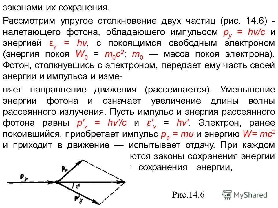 законами их сохранения. Рассмотрим упругое столкновение двух частиц (рис. 14.6) - налетающего фотона, обладающего импульсом р у = hv/c и энергией ε у = hv, с покоящимся свободным электроном (энергия покоя W 0 = т 0 с 2 ; т 0 масса покоя электрона). Ф