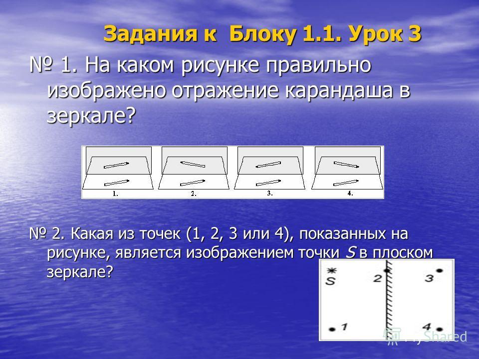 Задания к Блоку 1.1. Урок 3 Задания к Блоку 1.1. Урок 3 1. На каком рисунке правильно изображено отражение карандаша в зеркале? 1. На каком рисунке правильно изображено отражение карандаша в зеркале? 2. Какая из точек (1, 2, 3 или 4), показанных на р