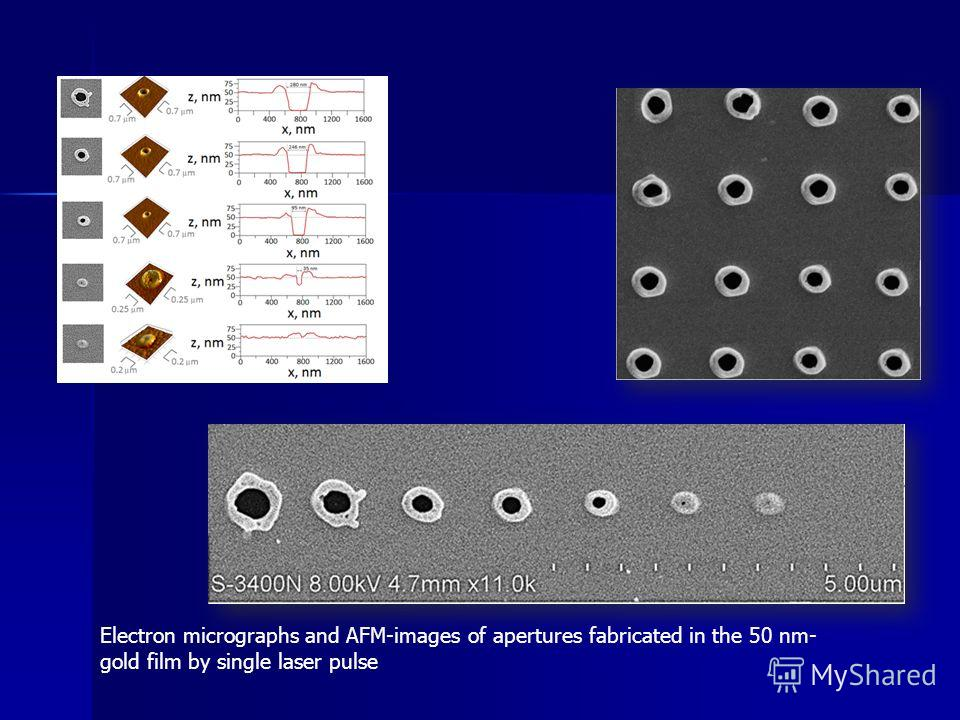 Electron micrographs and AFM-images of apertures fabricated in the 50 nm- gold film by single laser pulse