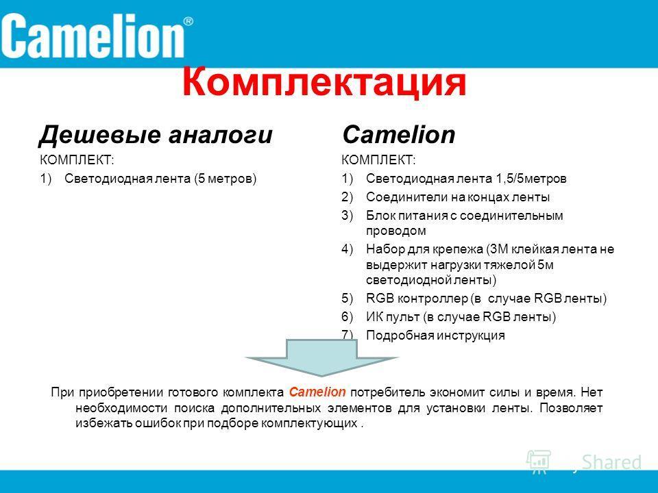 Комплектация Дешевые аналоги КОМПЛЕКТ: 1)Светодиодная лента (5 метров) Camelion КОМПЛЕКТ: 1)Светодиодная лента 1,5/5 метров 2)Соединители на концах ленты 3)Блок питания с соединительным проводом 4)Набор для крепежа (3М клейкая лента не выдержит нагру