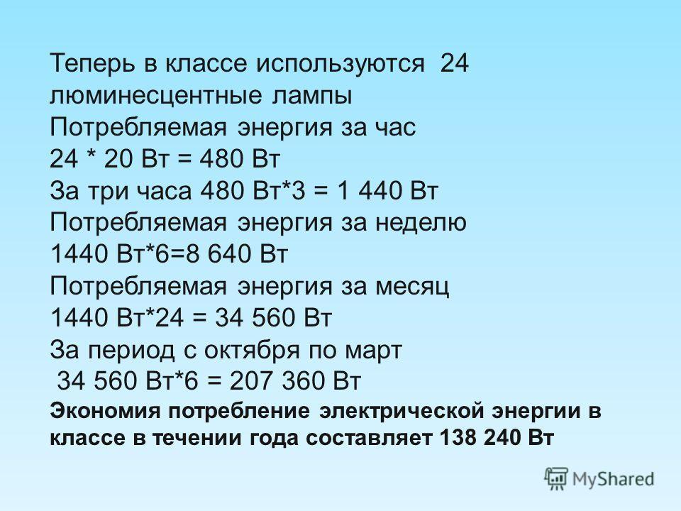 Теперь в классе используются 24 люминесцентные лампы Потребляемая энергия за час 24 * 20 Вт = 480 Вт За три часа 480 Вт*3 = 1 440 Вт Потребляемая энергия за неделю 1440 Вт*6=8 640 Вт Потребляемая энергия за месяц 1440 Вт*24 = 34 560 Вт За период с ок