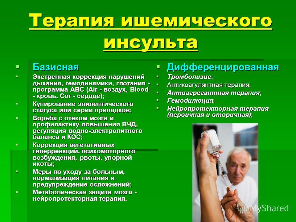 Терапия ишемического инсульта Базисная Базисная Экстренная коррекция нарушений дыхания, гемодинамики, глотания - программа АВС (Air - воздух, Blood - кровь, Cor - сердце); Экстренная коррекция нарушений дыхания, гемодинамики, глотания - программа АВС