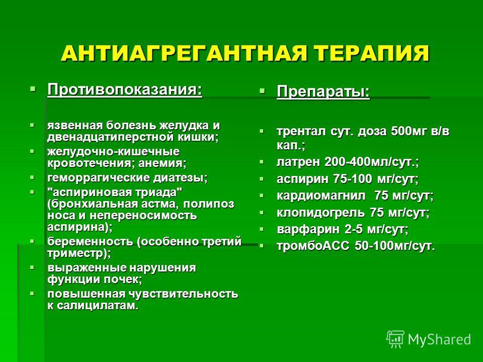 АНТИАГРЕГАНТНАЯ ТЕРАПИЯ Противопоказания: Противопоказания: язвенная болезнь желудка и двенадцатиперстной кишки; язвенная болезнь желудка и двенадцатиперстной кишки; желудочно-кишечные кровотечения; анемия; желудочно-кишечные кровотечения; анемия; ге