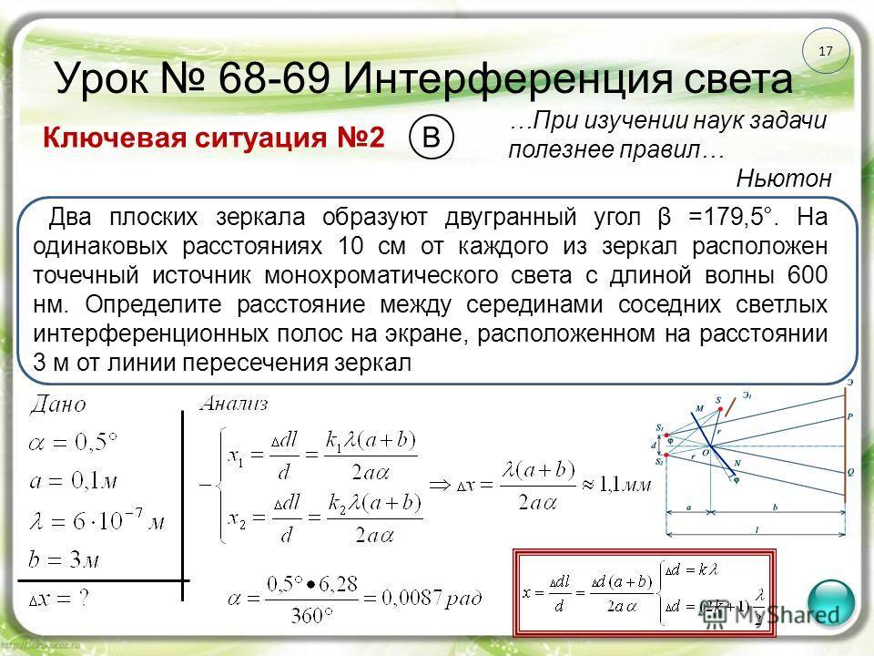 17 Урок 68-69 Интерференция света Ключевая ситуация 2 …При изучении наук задачи полезнее правил… Ньютон Два плоских зеркала образуют двугранный угол β =179,5°. На одинаковых расстояниях 10 см от каждого из зеркал расположен точечный источник монохром