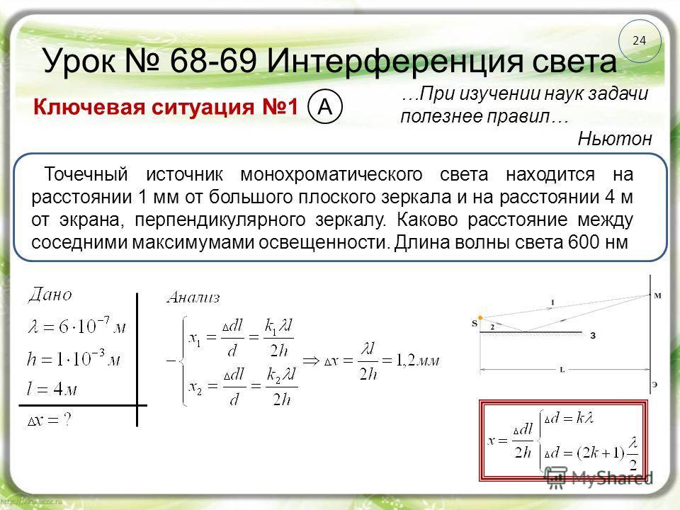 24 Урок 68-69 Интерференция света Ключевая ситуация 1 …При изучении наук задачи полезнее правил… Ньютон Точечный источник монохроматического света находится на расстоянии 1 мм от большого плоского зеркала и на расстоянии 4 м от экрана, перпендикулярн