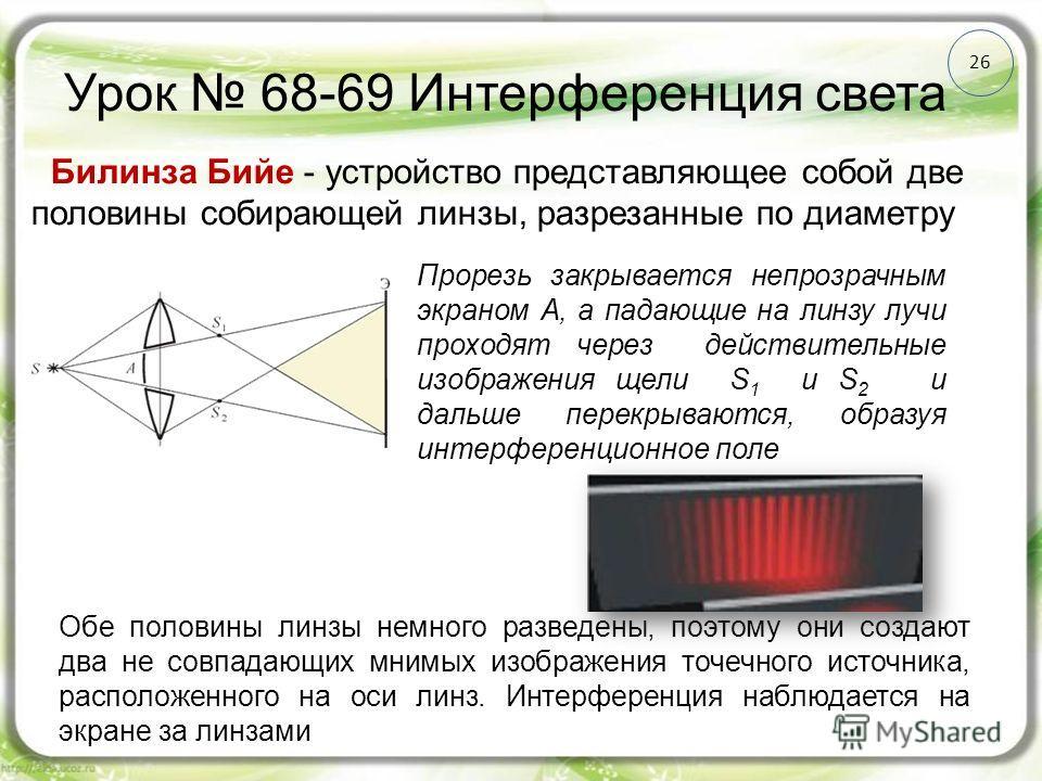 Урок 68-69 Интерференция света 26 Обе половины линзы немного разведены, поэтому они создают два не совпадающих мнимых изображения точечного источника, расположенного на оси линз. Интерференция наблюдается на экране за линзами Билинза Бийе - устройств