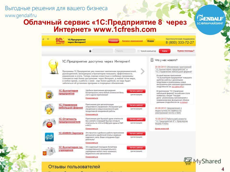 4 Облачный сервис «1С:Предприятие 8 через Интернет» www.1cfresh.com
