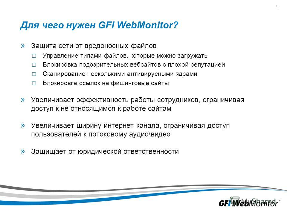 11 Для чего нужен GFI WebMonitor? » Защита сети от вредоносных файлов Управление типами файлов, которые можно загружать Блокировка подозрительных веб-сайтов с плохой репутацией Сканирование несколькими антивирусными ядрами Блокировка ссылок на фишинг