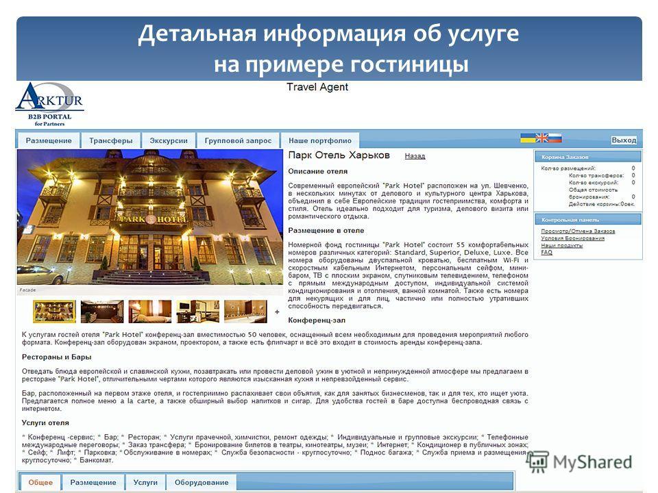 Детальная информация об услуге на примере гостиницы