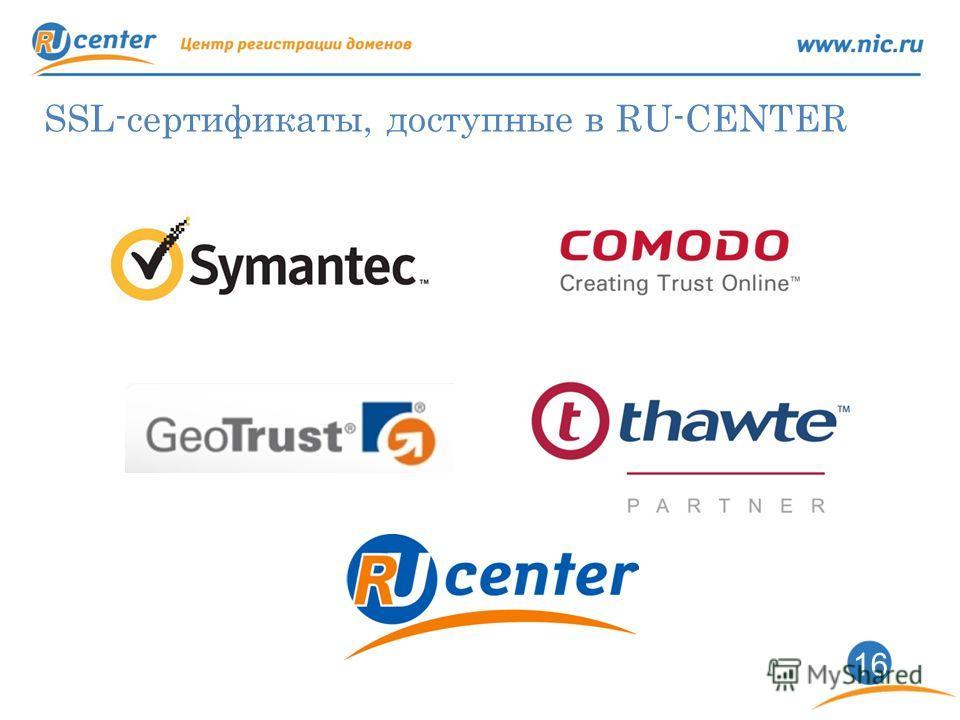 1616 SSL-сертификаты, доступные в RU-CENTER