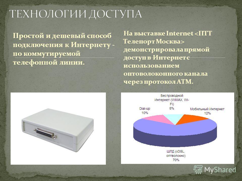 Простой и дешевый способ подключения к Интернету - по коммутируемой телефонной линии. На выставке Internet демонстрировала прямой доступ в Интернет с использованием оптоволоконного канала через протокол ATM.
