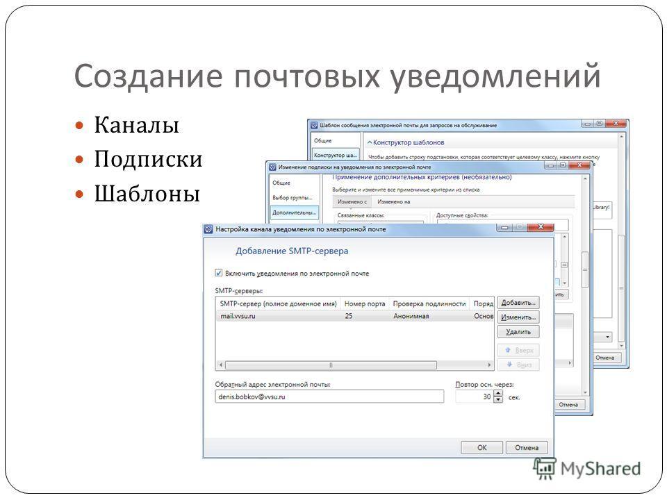 Создание почтовых уведомлений Каналы Подписки Шаблоны