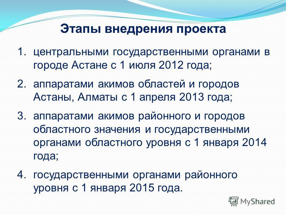 1. центральными государственными органами в городе Астане с 1 июля 2012 года; 2. аппаратами акимов областей и городов Астаны, Алматы с 1 апреля 2013 года; 3. аппаратами акимов районного и городов областного значения и государственными органами област