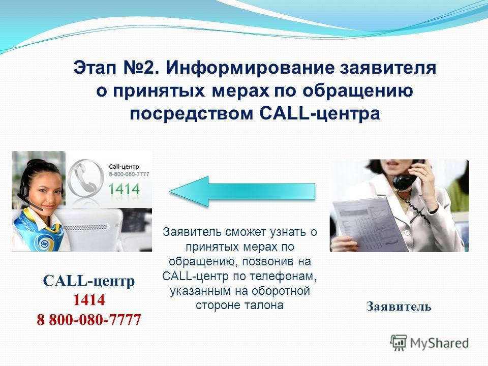Заявитель сможет узнать о принятых мерах по обращению, позвонив на CALL-центр по телефонам, указанным на оборотной стороне талона Этап 2. Информирование заявителя о принятых мерах по обращению посредством CALL-центра Заявитель CALL-центр 1414 8 800-0