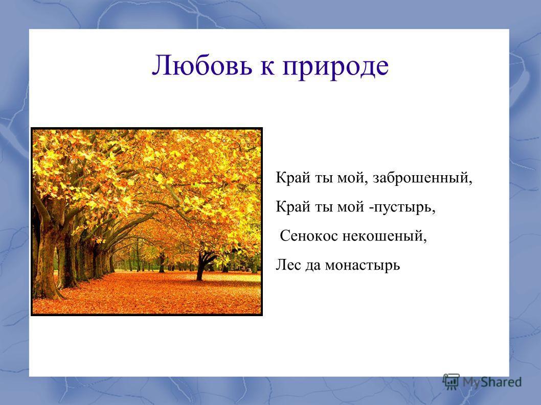Любовь к природе Край ты мой, заброшенный, Край ты мой -пустырь, Сенокос некошеный, Лес да монастырь