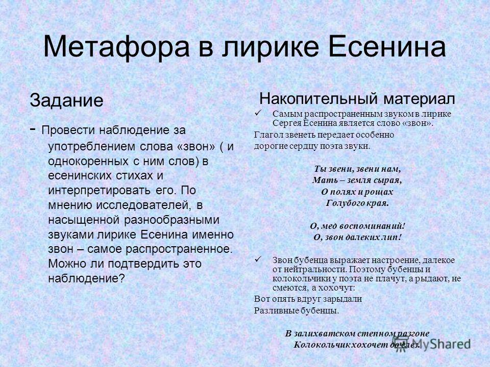 Метафора в лирике Есенина Задание - Провести наблюдение за употреблением слова «звон» ( и однокоренных с ним слов) в есенинских стихах и интерпретировать его. По мнению исследователей, в насыщенной разнообразными звуками лирике Есенина именно звон –