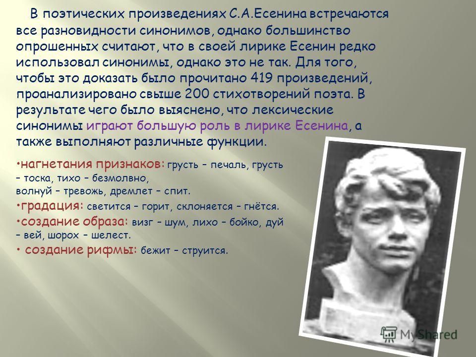 В поэтических произведениях С.А.Есенина встречаются все разновидности синонимов, однако большинство опрошенных считают, что в своей лирике Есенин редко использовал синонимы, однако это не так. Для того, чтобы это доказать было прочитано 419 произведе