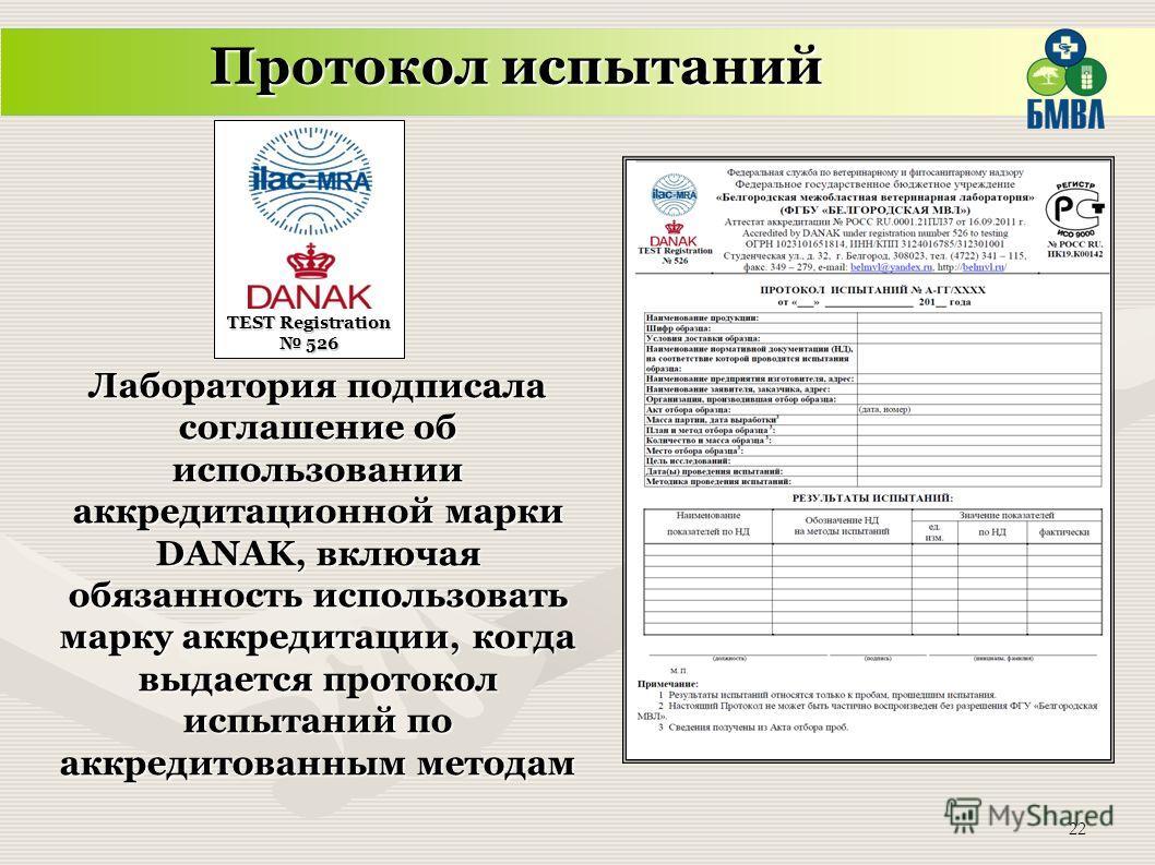 22 TEST Registration 526 Протокол испытаний Лаборатория подписала соглашение об использовании аккредитационной марки DANAK, включая обязанность использовать марку аккредитации, когда выдается протокол испытаний по аккредитованным методам