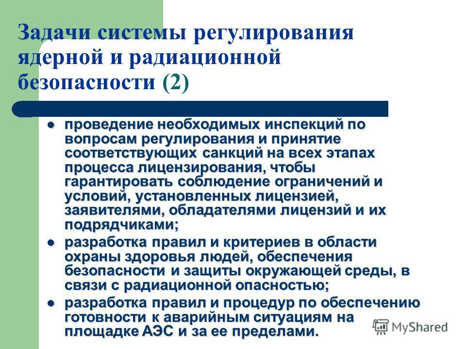 Задачи системы регулирования ядерной и радиационной безопасности (2) проведение необходимых инспекций по вопросам регулирования и принятие соответствующих санкций на всех этапах процесса лицензирования, чтобы гарантировать соблюдение ограничений и ус