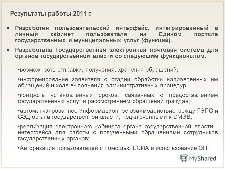 Результаты работы 2011 г. 4 Разработан пользовательский интерфейс, интегрированный в личный кабинет пользователя на Едином портале государственных и муниципальных услуг (функций). Разработана Государственная электронная почтовая система для органов г
