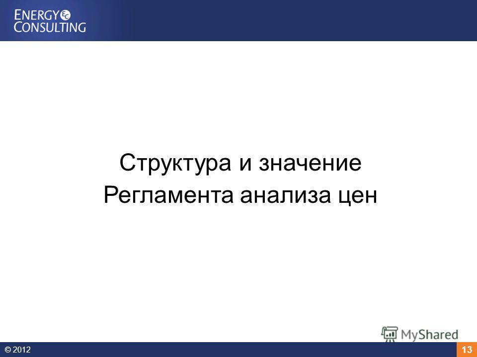 © 2012 13 Структура и значение Регламента анализа цен