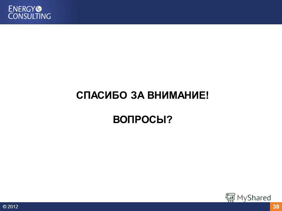 © 2012 38 СПАСИБО ЗА ВНИМАНИЕ! ВОПРОСЫ?