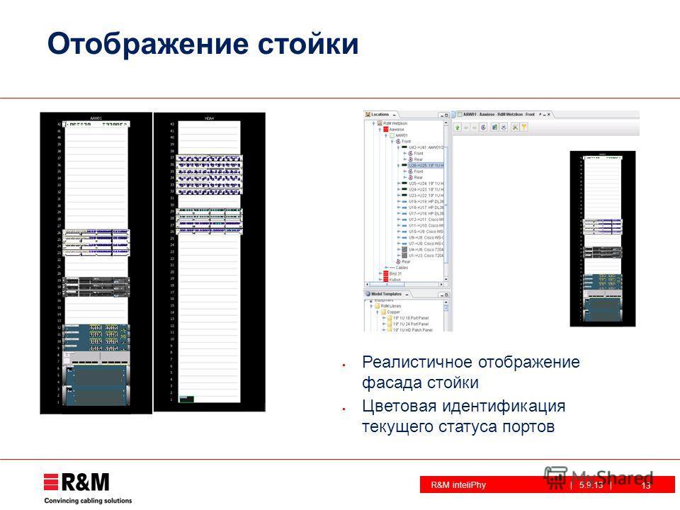 R&M inteliPhy| 5.9.13 | Отображение стойки 13 Реалистичное отображение фасада стойки Цветовая идентификация текущего статуса портов