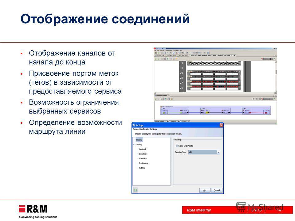 R&M inteliPhy| 5.9.13 | Отображение соединений Отображение каналов от начала до конца Присвоение портам меток (тегов) в зависимости от предоставляемого сервиса Возможность ограничения выбранных сервисов Определение возможности маршрута линии 14