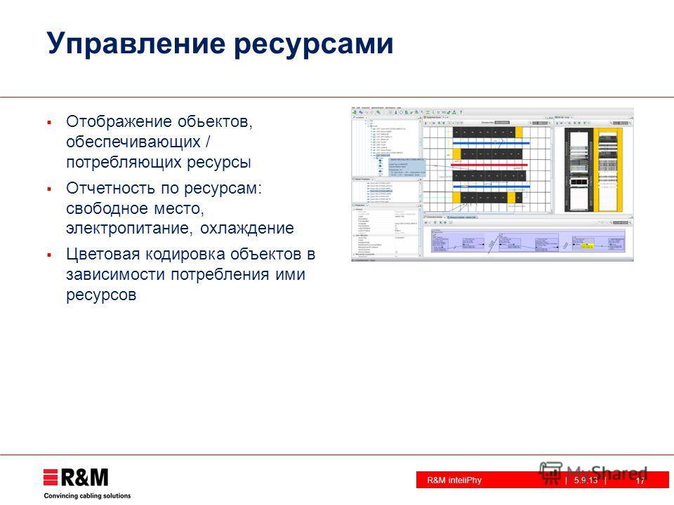 R&M inteliPhy| 5.9.13 | Управление ресурсами Отображение объектов, обеспечивающих / потребляющих ресурсы Отчетность по ресурсам: свободное место, электропитание, охлаждение Цветовая кодировка объектов в зависимости потребления ими ресурсов 17