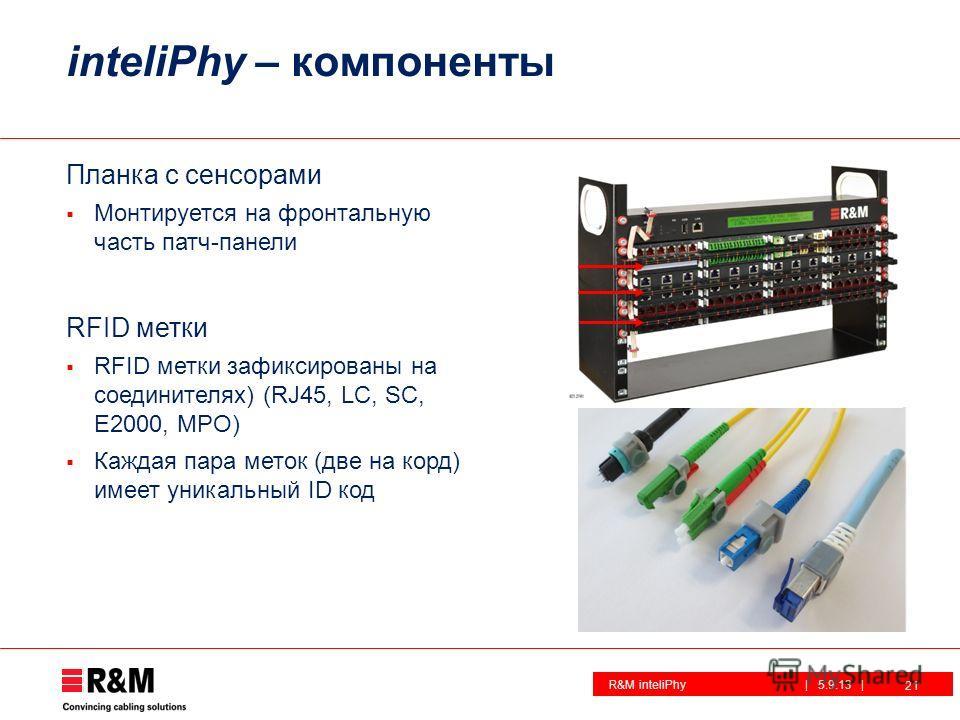 R&M inteliPhy| 5.9.13 | inteliPhy – компоненты Планка с сенсорами Монтируется на фронтальную часть патч-панели RFID метки RFID метки зафиксированы на соединителях) (RJ45, LC, SC, E2000, MPO) Каждая пара меток (две на корд) имеет уникальный ID код 21