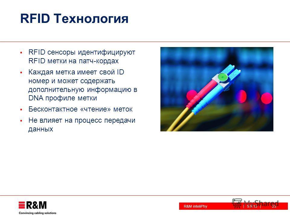 R&M inteliPhy| 5.9.13 | RFID Технология RFID сенсоры идентифицируют RFID метки на патч-кордах Каждая метка имеет свой ID номер и может содержать дополнительную информацию в DNA профиле метки Бесконтактное «чтение» меток Не влияет на процесс передачи
