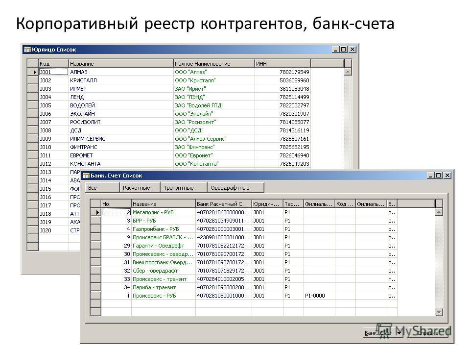 Корпоративный реестр контрагентов, банк-счета