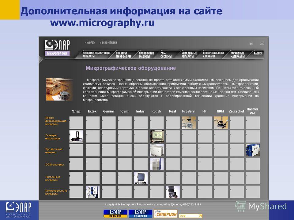 Дополнительная информация на сайте www.micrography.ru