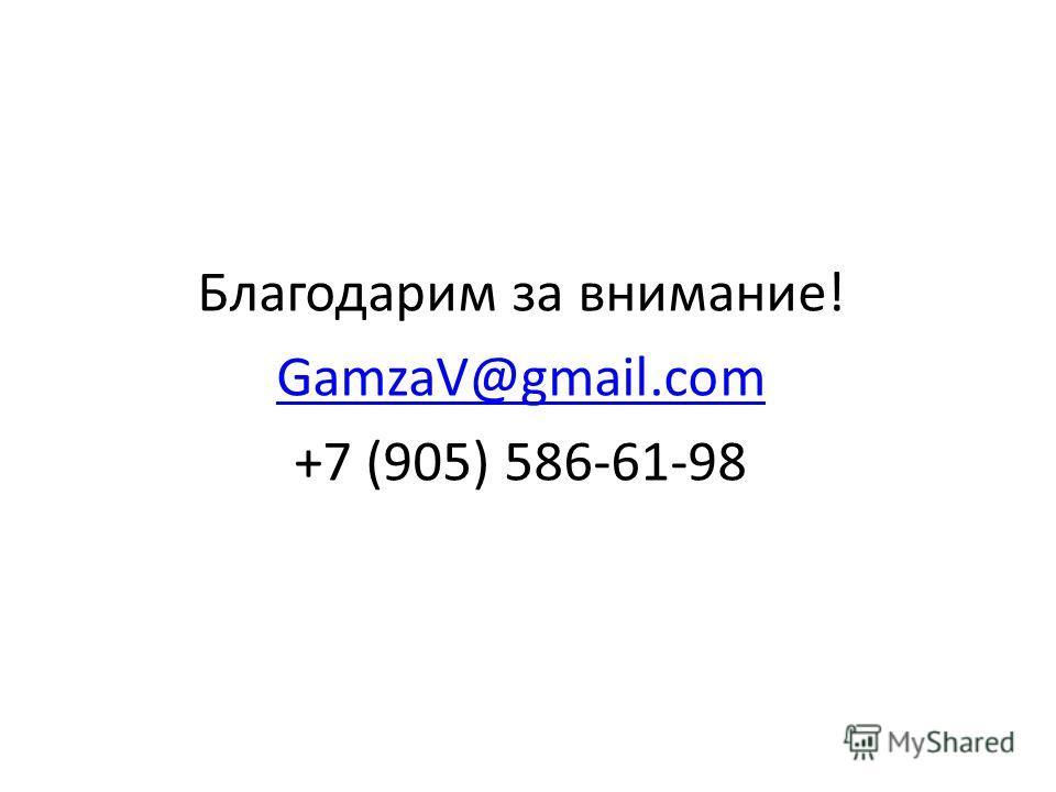 Благодарим за внимание! GamzaV@gmail.com +7 (905) 586-61-98