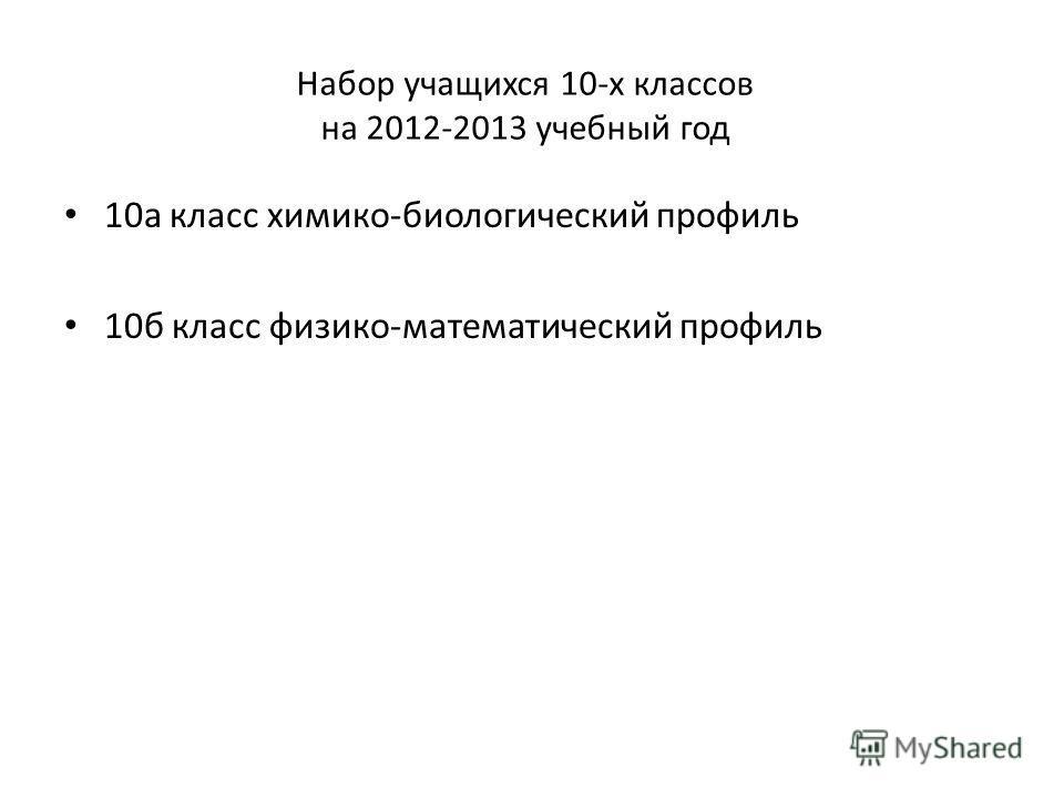 Набор учащихся 10-х классов на 2012-2013 учебный год 10 а класс химико-биологический профиль 10 б класс физико-математический профиль