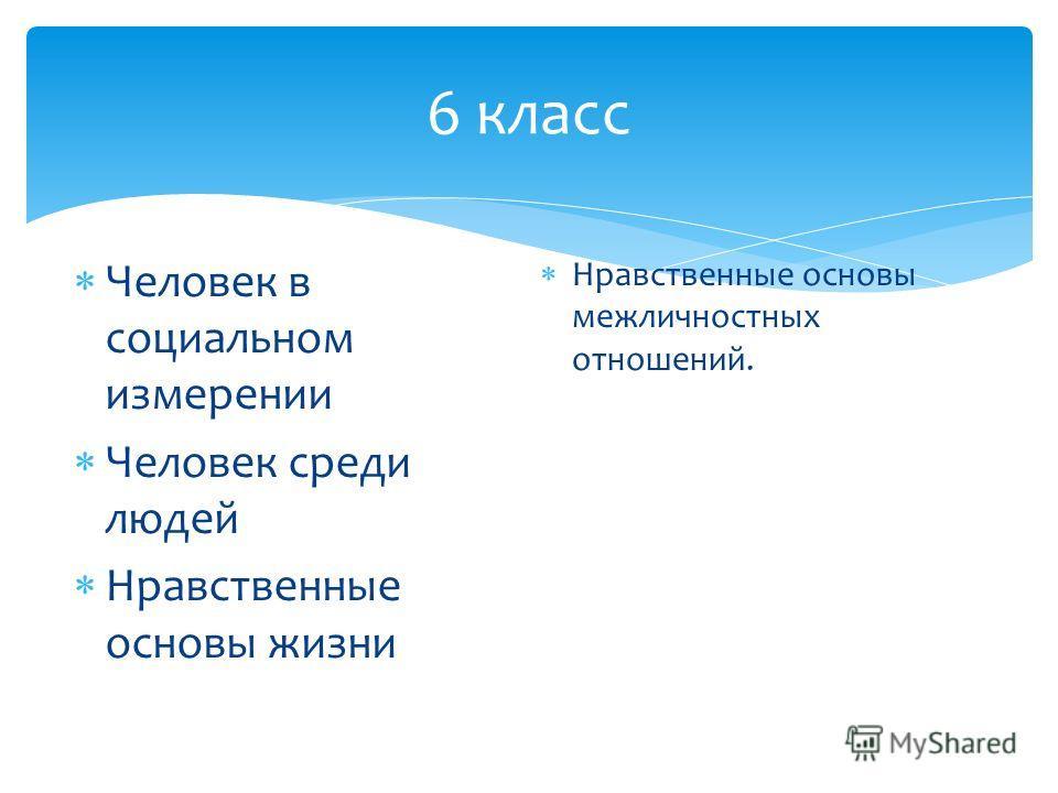 6 класс Человек в социальном измерении Человек среди людей Нравственные основы жизни Нравственные основы межличностных отношений.