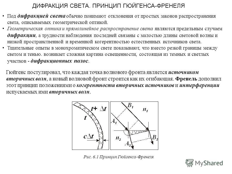 ДИФРАКЦИЯ СВЕТА. ПРИНЦИП ГЮЙГЕНСА-ФРЕНЕЛЯ Под дифракцией света обычно понимают отклонения от простых законов распространения света, описываемых геометрической оптикой. Геометрическая оптика и прямолинейное распространение света являются предельным сл