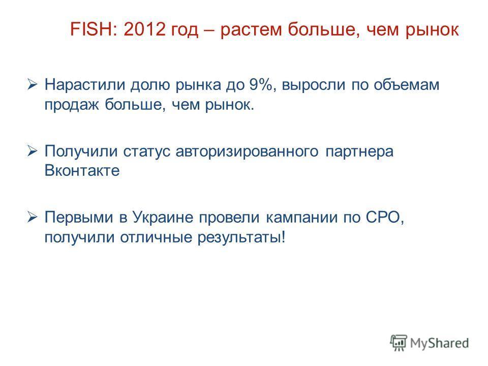 FISH: 2012 год – растем больше, чем рынок Нарастили долю рынка до 9%, выросли по объемам продаж больше, чем рынок. Получили статус авторизированного партнера Вконтакте Первыми в Украине провели кампании по СРО, получили отличные результаты!