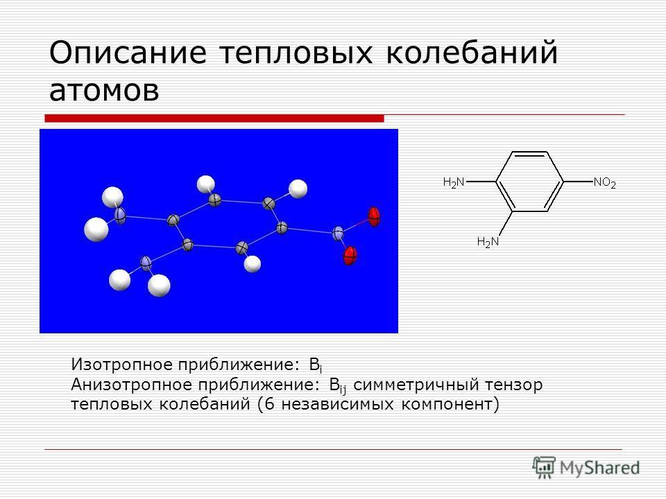 Описание тепловых колебаний атомов Изотропное приближение: B i Анизотропное приближение: B ij симметричный тензор тепловых колебаний (6 независимых компонент)